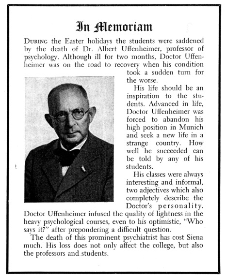 Uffenheimer In Memoriam Siena Yearbook 1941