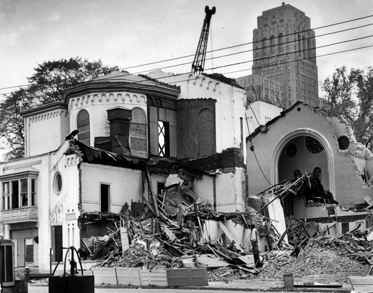 St. Paul's Episcopal Church is demolished to make way the South Mall Oct. 19, 1964, in Albany, N.Y. Historic buildings and streets 1960s, Empire State Plaza. (Times Union archive)