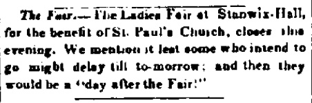 Announcement of St. Paul's Ladies Fair at Stanwix Hall; Albany Evening Journal 14 Dec 1836