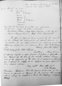 Geo. W. Warren's offer to serve as St. Peter's organist without pay (Vestry Minutes 20 Jun 1846)