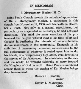 In Memoriam J. Montgomery Mosher, from 1922 St. Paul's Year Book