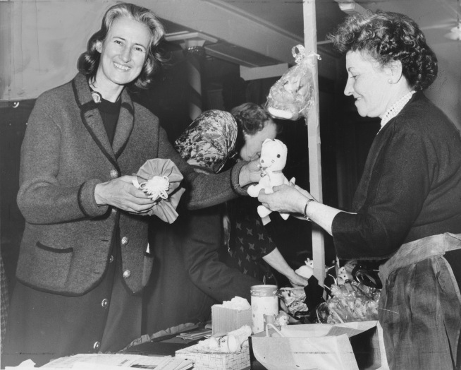 Christmas Bazaar, December 1961: the gift booth