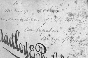 Kip carte de visite reverse with inscription to Geo. W. Warren