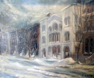 "Painting of Lancaster Street Building signed ""J. Lyons"""