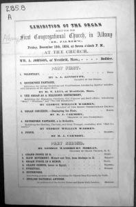 Front, 1856 Organ Exhibition Program (Albany Public Library Pruyn Collection)