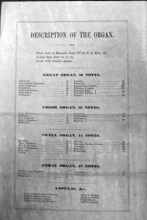Reverse, 1856 Organ Exhibition Program (Albany Public Library Pruyn Collection)