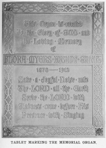 Plaque for Gavit Memorial Organ