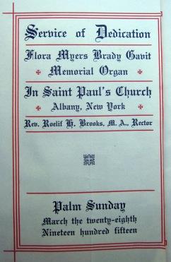 Program, Service of Dedication for Gavit Memorial Organ