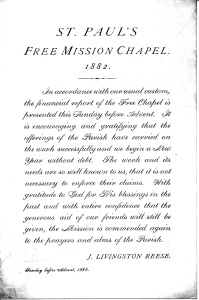 1882 Annual Report, St. Paul's Free Mission Chapel