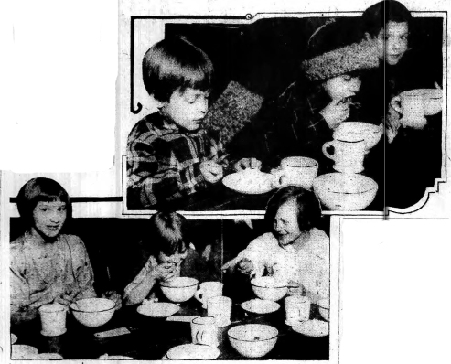 Children enjoying the 3-cent lunch (Albany Evening News 25 Jan 1927)