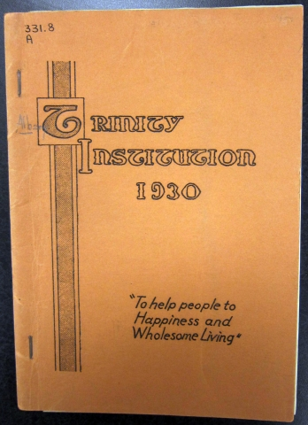 Trinity Institution Annual Report for 1930 (credit: Pruyn Collection, Albany Public Library)
